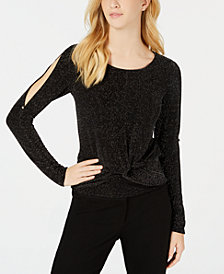 BCX Juniors' Split-Sleeve Knot-Hem Top
