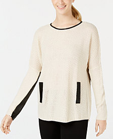 BCX Juniors' Colorblocked Faux-Leather-Trim Sweater