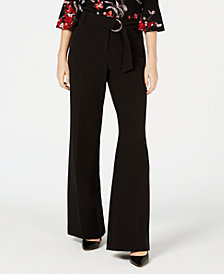 BCX Juniors' Belted Wide-Leg Pants