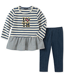 Tommy Hilfiger Baby Girls 2-Pc. Striped Peplum Tunic & Leggings Set