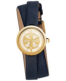 Tory Burch Women's Reva Navy Leather Double Wrap Strap Watch 28mm
