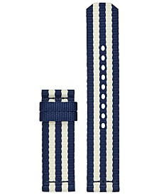 Tory Burch Women's ToryTrack Gigi Ivory & Navy Grosgrain Fabric Smart Watch Strap