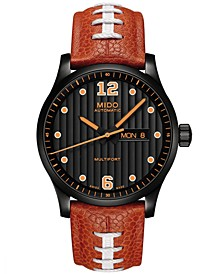 Men's Swiss Automatic Multifort Horween® Football Leather Strap & Interchangeable Black Leather Strap Watch 42mm