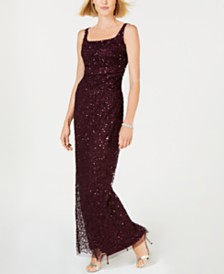 Adrianna Papell Ruched Sequined Gown