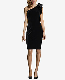 Betsy & Adam Velvet One-Shoulder Dress