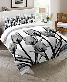 Monochromatic Black Tulips Pillow Sham