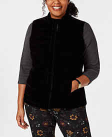 Charter Club Plus Size Quilted Velvet Vest, Created for Macy's
