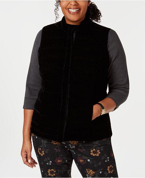 da76d1b8c8d Charter Club Plus Size Quilted Velvet Vest