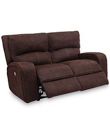 "CLOSEOUT! Brant 64"" Dual Power Motion Fabric Loveseat"