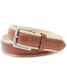 Tommy Bahama Men's Sand Drift Canvas & Leather Belt