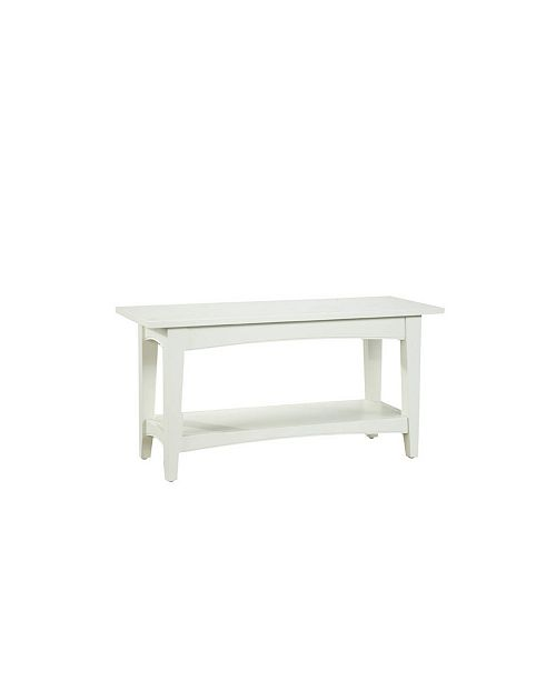 Alaterre Furniture Shaker Cottage Bench with Shelf, Ivory