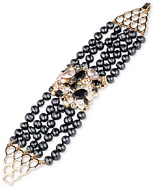 Carolee Gold-Tone Crystal, Stone & Freshwater Pearl (5-8mm) Multi-Row Flex Bracelet