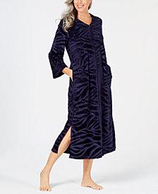 Miss Elaine Micro-Embossed Velour Long Zip Robe