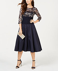 Jessica Howard Petite Illusion-Lace Fit & Flare Dress