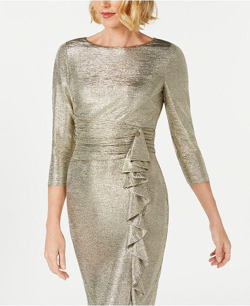 6b5eb796ba Jessica Howard Metallic Ruffle-Front Sheath Dress - Dresses - Women ...