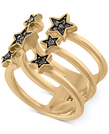 RACHEL Rachel Roy Gold-Tone Pavé Star Triple-Row Ring
