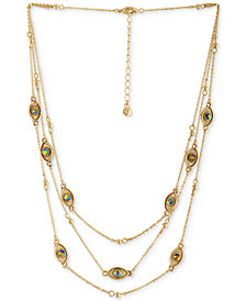 "RACHEL Rachel Roy Gold-Tone Crystal Evil Eye Triple-Layer Collar Necklace, 14-1/2"" + 2"" extender"