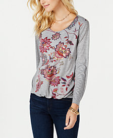 Style & Co Printed Bubble-Hem Top, Created for Macy's