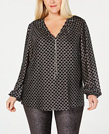 MICHAEL Michael Kors Plus Size Printed Deco-Foil Top