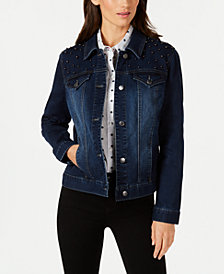 Charter Club Embellished Denim Jacket, Created for Macy's