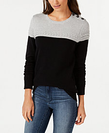Charter Club Petite Colorblocked Button-Trim Sweater, Created for Macy's