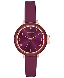 kate spade new york Women's Park Row Purple Silicone Strap 34mm