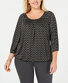 MICHAEL Michael Kors Plus Size Printed Scoop-Neck Top
