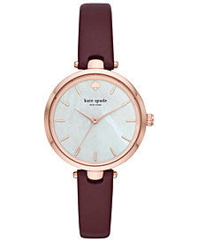 kate spade new york Women's Holland Purple Leather Strap Watch 34mm