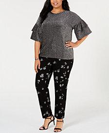 MICHAEL Michael Kors Plus Size Metallic Ruffle-Sleeve Top & Foil-Print Izzy Jeans