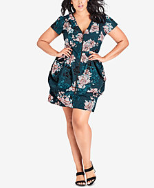 City Chic Plus Size Jade Blossom Fit & Flare Dress