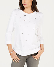 Karen Scott Petite Grommeted Sweatshirt, Created for Macy's