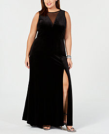 Nightway Plus Size Illusion Velvet Dress