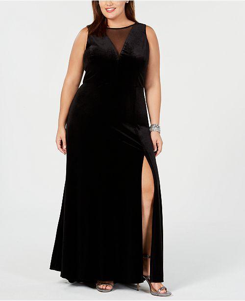 Nightway Plus Size Illusion Velvet Dress & Reviews - Dresses ...