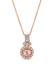 Peach Morganite™ (3/4 ct.t.w.) and Nude Diamonds™ (1/4 ct.t.w.) Pendant set in 14k rose gold