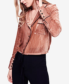 Free People Nights Velvet-Stripe Button-Up Top