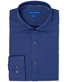 Vince Camuto Men's Slim-Fit Comfort Stretch Dobby Denim Diagonal Dress Shirt