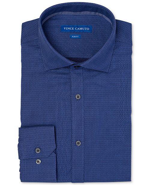 Vince Camuto Men's Slim-Fit Comfort Stretch Dobby Denim Diagonal Dress Shirt