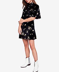 Free People Be My Baby Floral-Print Velvet Fit & Flare Dress