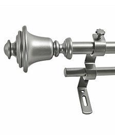 Montevilla 5/8-Inch Bell Double Telescoping Curtain Rod Set, 86 to 128-Inch, Dark Nickel