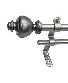 Montevilla 5/8-Inch Urn Double Telescoping Curtain Rod Set, 48 to 86-Inch, Dark Nickel