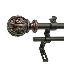 Montevilla 5/8-Inch Leaf Ball Double Telescoping Curtain Rod Set, 48 to 86-Inch, Vintage Bronze