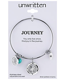 Unwritten Journey Charm and Manufactured Turquoise (8mm) Adjustable Bangle Bracelet in Stainless Steel