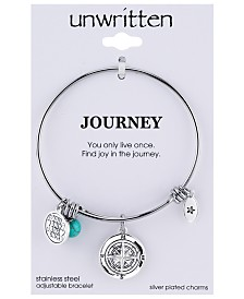Unwritten Journey Compass Charm and Manufactured Turquoise (8mm) Adjustable Bangle Bracelet in Stainless Steel