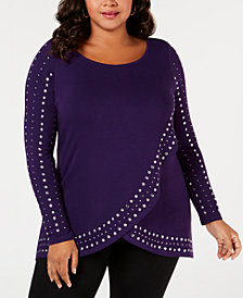 Belldini Plus Size Studded Tulip-Hem Sweater