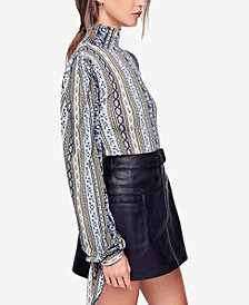 Free People Donatella Printed Tie-Cuff Turtleneck