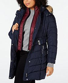 Tommy Hilfiger Plus Size Faux-Fur-Trim Hooded Puffer Coat