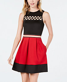 Speechless Juniors' Crisscross Fit & Flare Dress, a Macy's Exclusive Style
