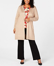 Plus Size Lace-Up Metallic Cardigan, Created for Macy's