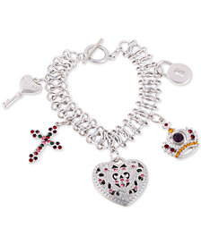 GUESS Silver-Tone Multicolor Crystal Charm Bracelet