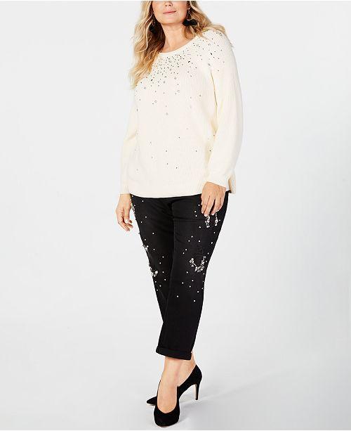 5526aef321f ... INC International Concepts I.N.C. Plus Size Embellished Sweater   Ripped  Rhinestone-Embellished Jeans